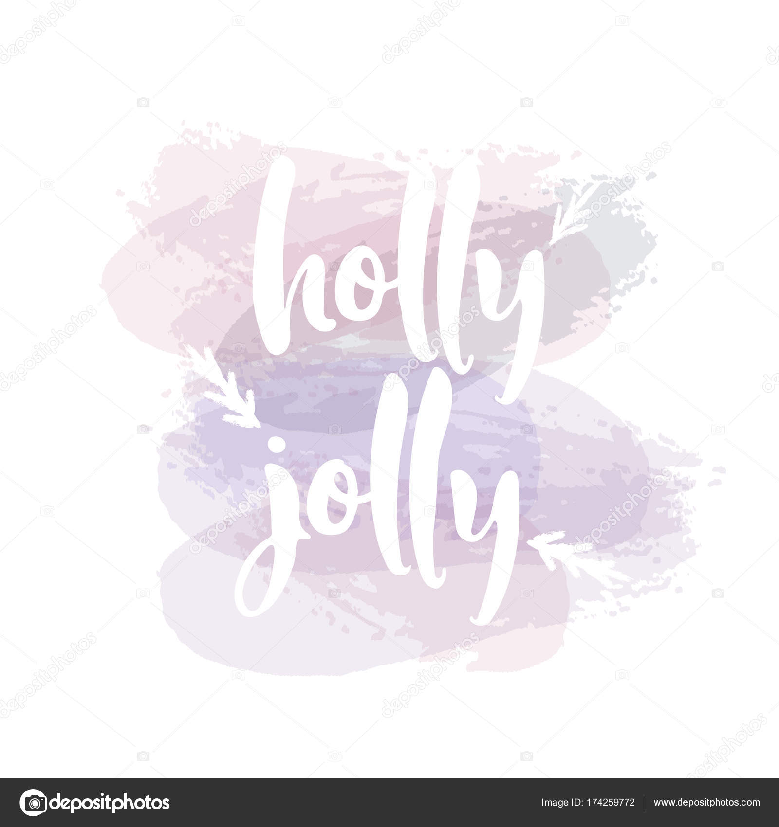 Heb een Holly Jolly kerst. Christmas wenskaart met kalligrafie ...