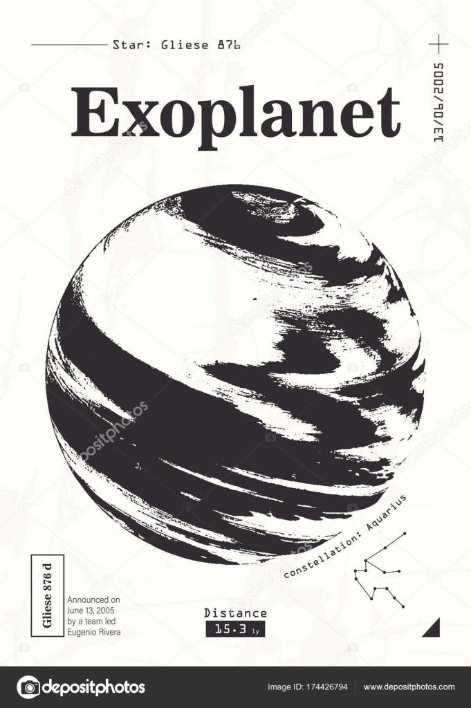 Exoplanet informative Poster. Wissenschaftliche Darstellung der ...