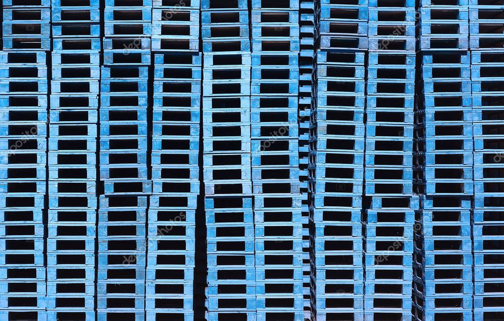 blue pallets stacked background pattern pile storage — Stock Photo