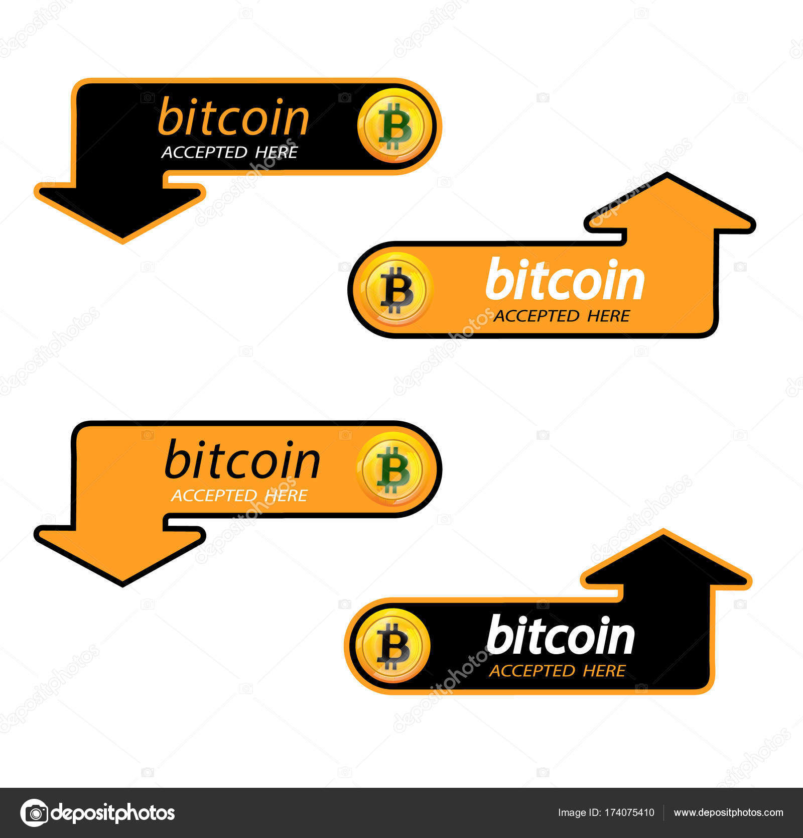 Bitcoin Logo Of Crypto Currency With An Inscription Accepted Here On A Black Background Block Sticker For Slabbarking Organizations For Web Pages Or Printing Logo Bitcoins Vector Illustration Vector Image By C