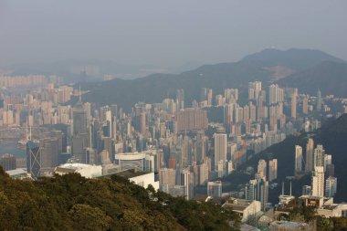 Aerial view of skyscrapers Hong Kong