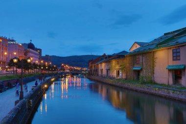 Night Scene of Old Canal in Otaru, Japan