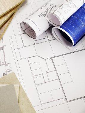 Renovation blueprints and construction materials