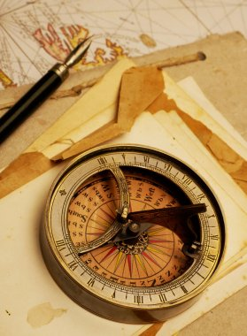 Navigational compass on old map