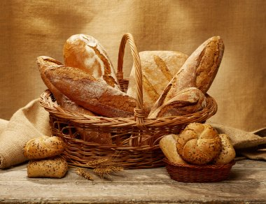 Bread selection in a basket