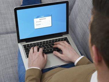 Log-in on laptop