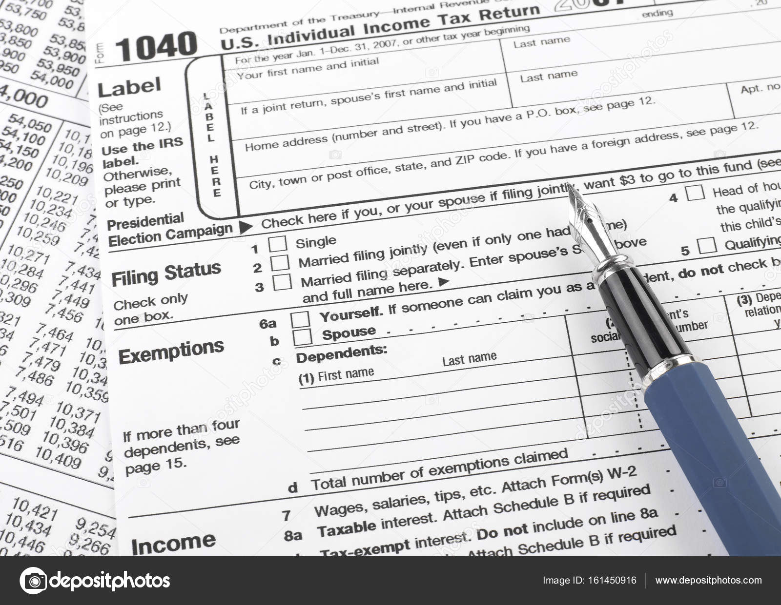 1040 Tax Form Stock Photo Goir 161450916