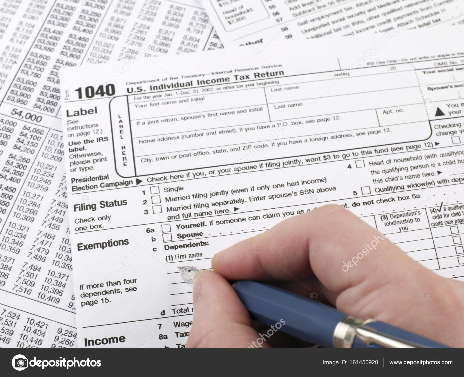 Completing 1040 Tax Form Stock Photo Goir 161450920