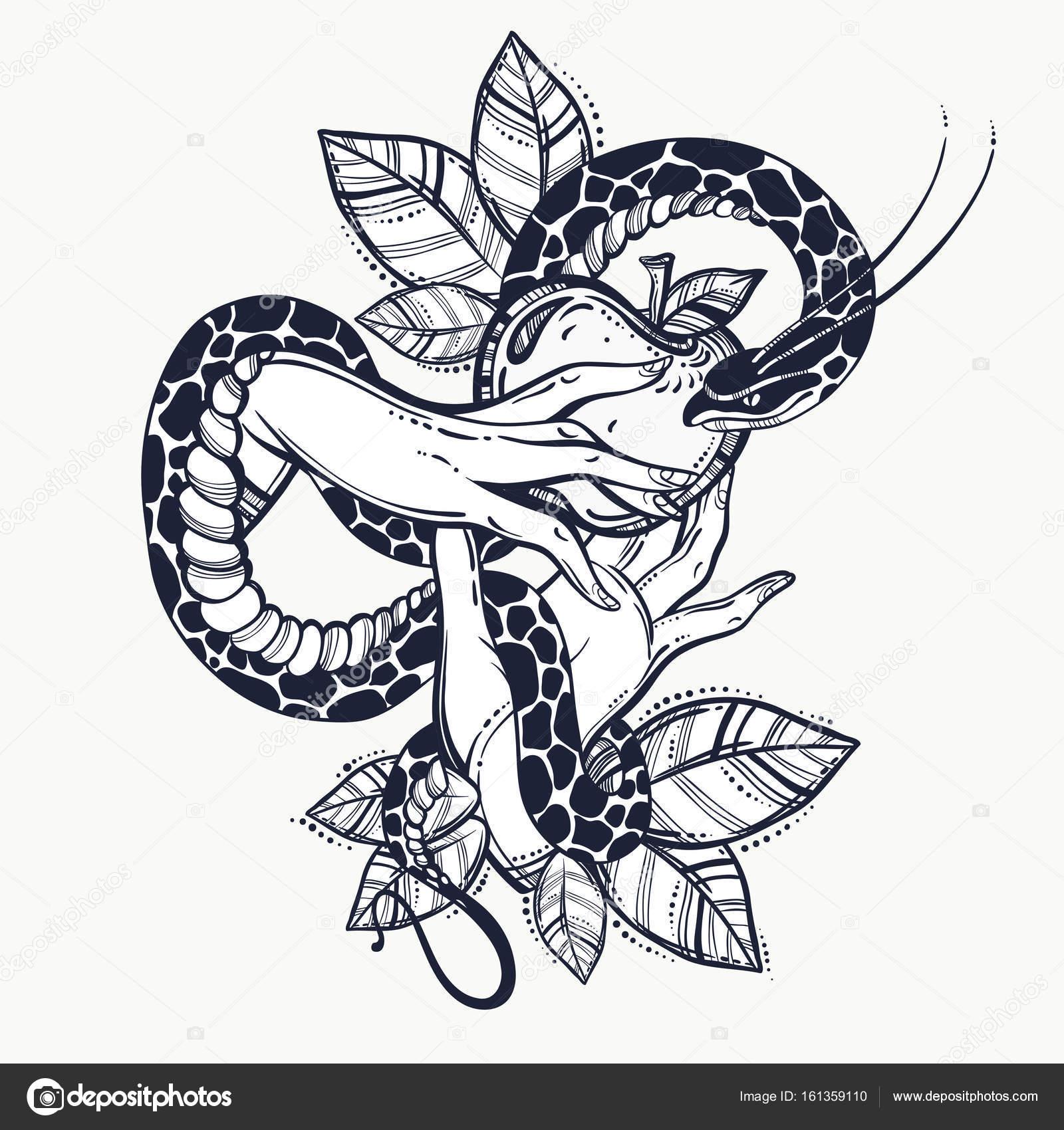 Ewy Ręce Zakazanego Owocu I Węża Sztuka Tatuaż Ręcznie