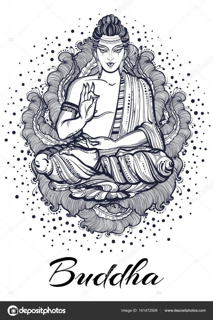 Beautiful high-detailed Buddha`s hand illustration  Engraved