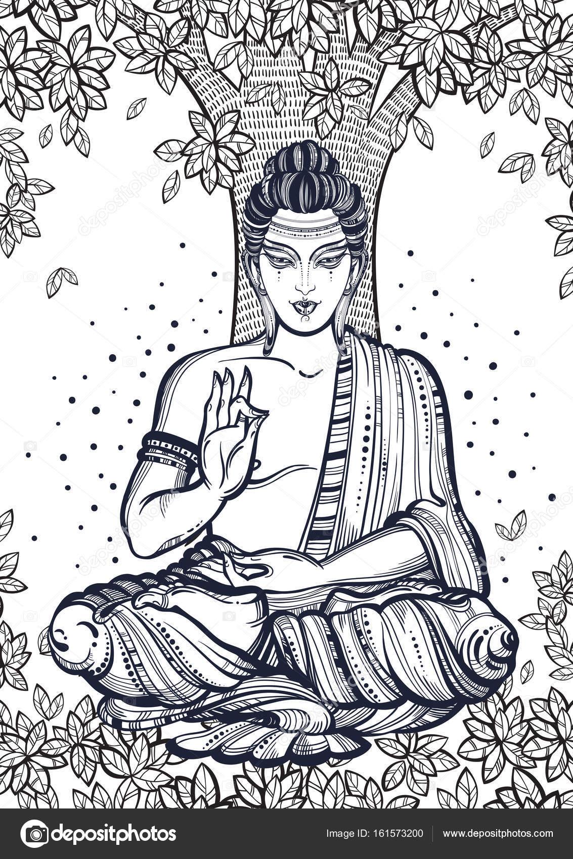 Buda sentado sobre el árbol de Bodhi. Ilustración vectorial de alta ...