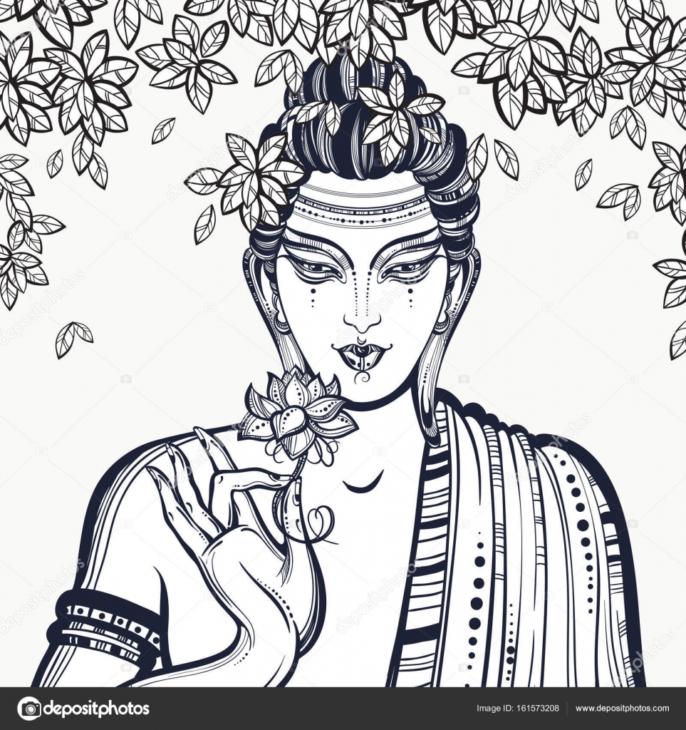 Güzel Grafik Buda Yüzüne Bodhi Ağacı Yüksek Kaliteli Vektör