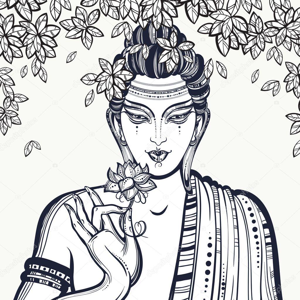 mooie grafische boeddha gezicht de bodhiboom hoge