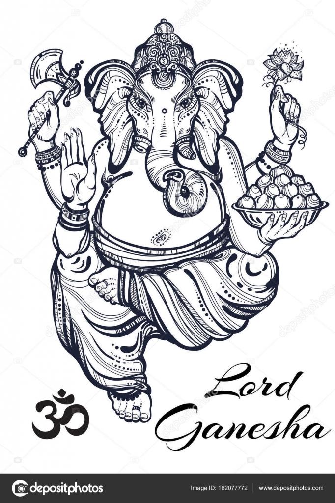 Vintage Style Graphique Seigneur Ganesha Illustration Vectorielle