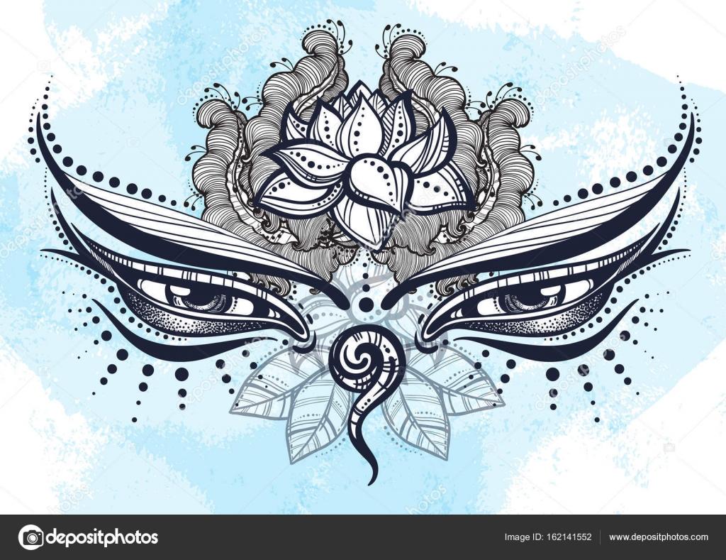 Beautiful buddha eyes of the nepal ornate with floral elements beautiful buddha eyes of the nepal ornate with floral elements the symbol of wisdom biocorpaavc Images