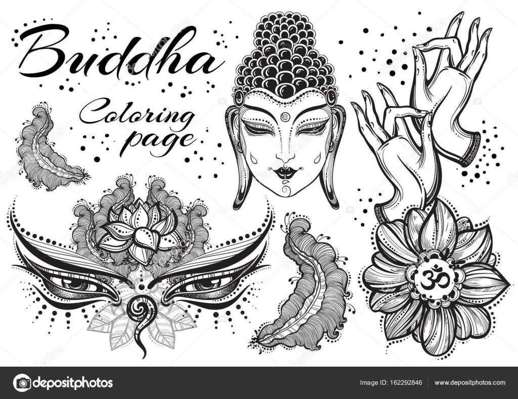 Vintage Buda gráfico conjunto con elementos sagrados budistas ...