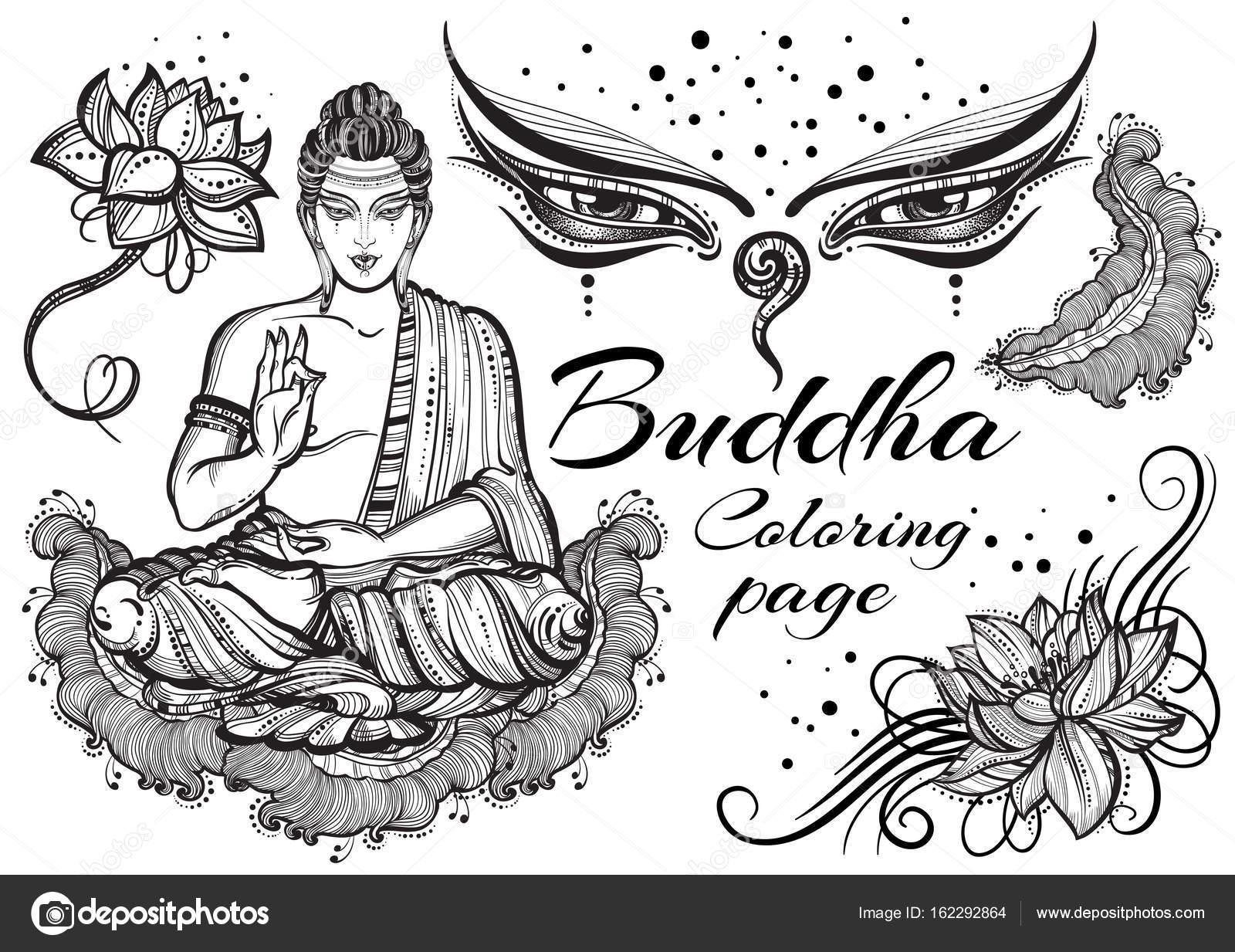 Vintage Grafik Buda Budist Kutsal öğelerle Ayarlayın Dini Kavramı
