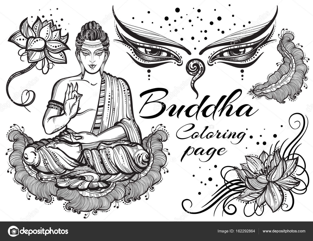 vintage grafische boeddha set met boeddhistische heilige