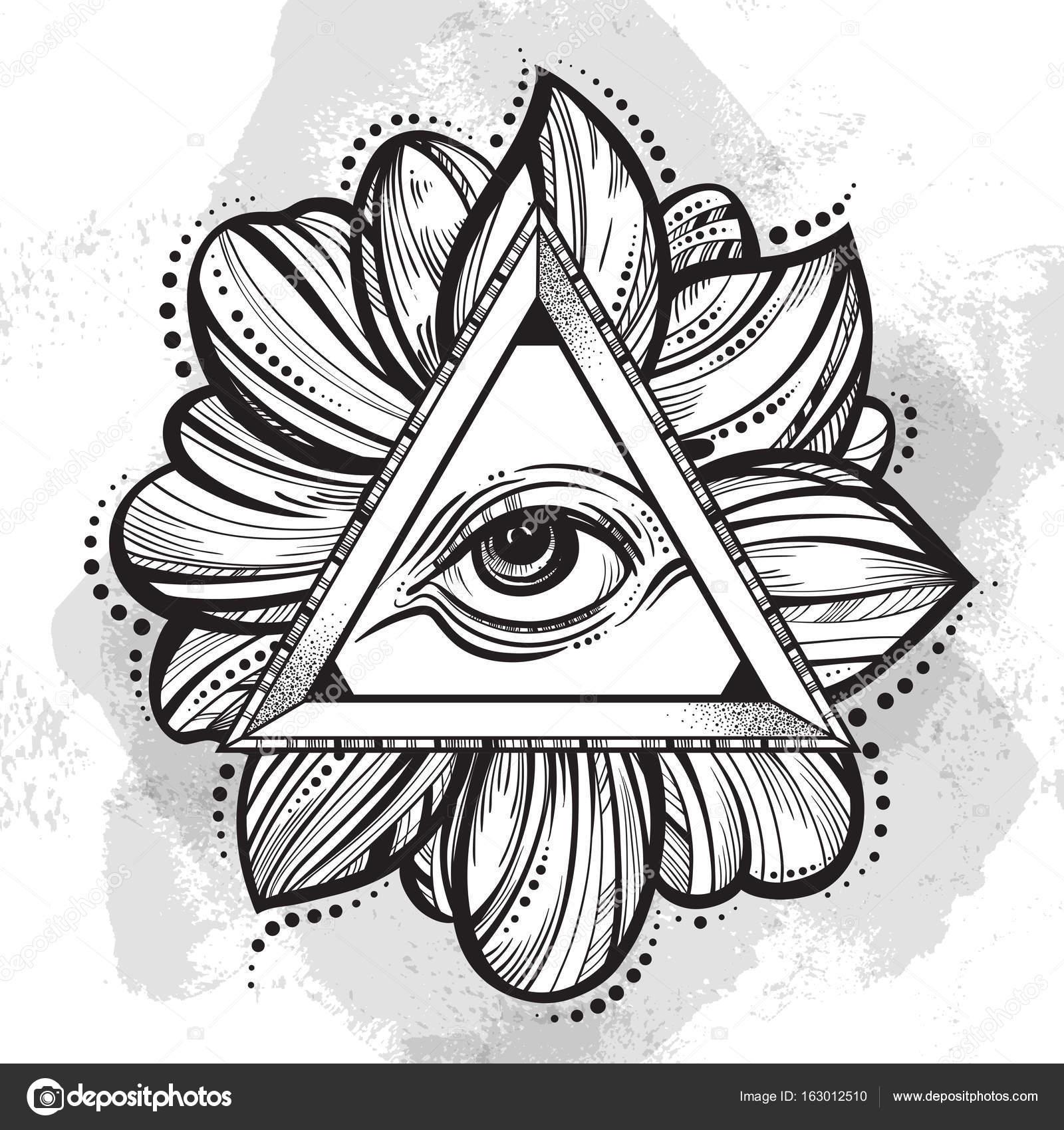 04f07f6f073ad All seeing eye pyramid symbol. Hand-drawn Eye of Providence. Alchemy,  religion, spirituality, tattoo art. Isolated vector illustration. Lotus  flower around.