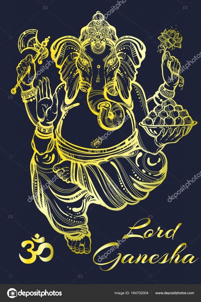 Piękne Wysokie Szczegółowe Pana Ganesha Wektor Ilustracja
