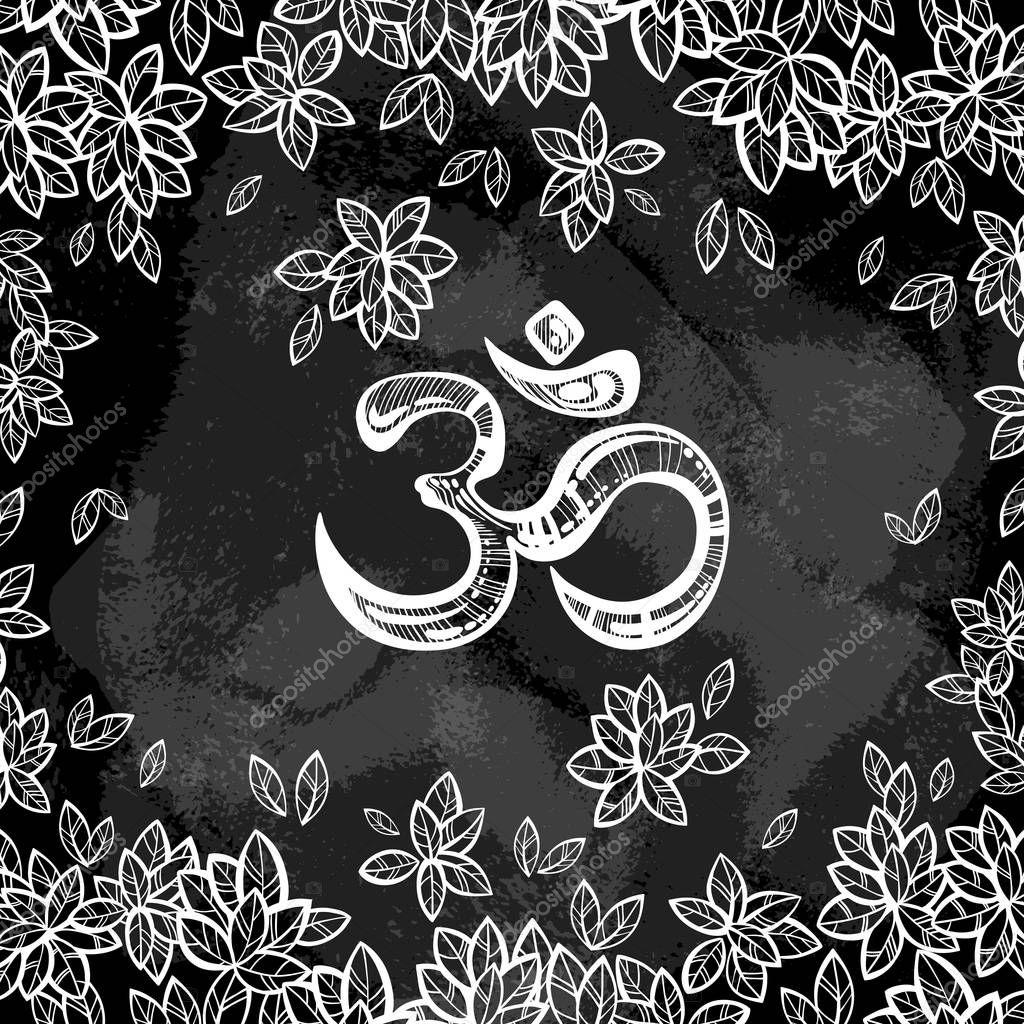 Textile Stock Distributors Mail: Dessiné De Main Symbole Ohm, Indienne Diwali Signe