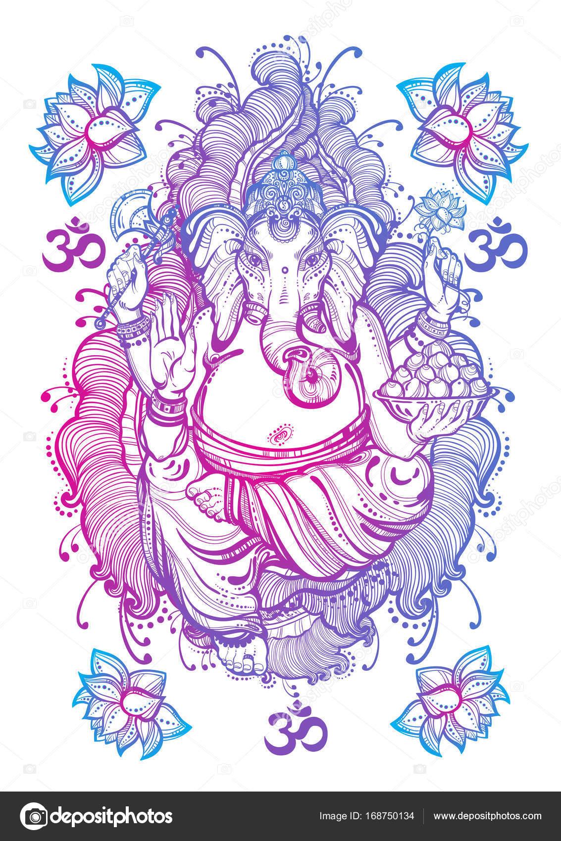 Vintage Styl Graficzny Pana Ganesha Na Białym Tle Kompozycji