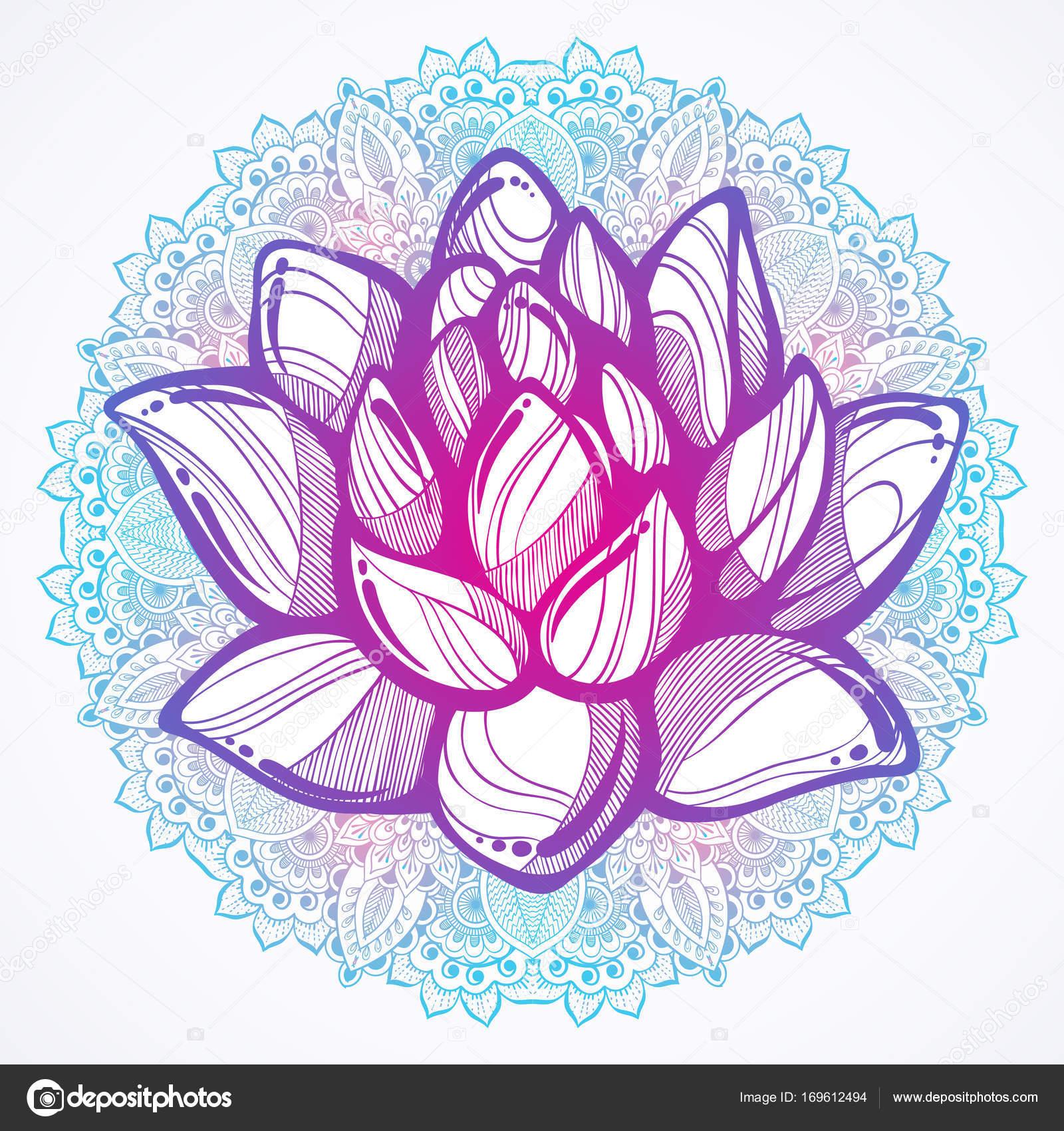 Vector hand drawn beautiful illustration of lotus flower over the vector hand drawn beautiful illustration of lotus flower over the round mandala pattern buddhist spiritual mightylinksfo