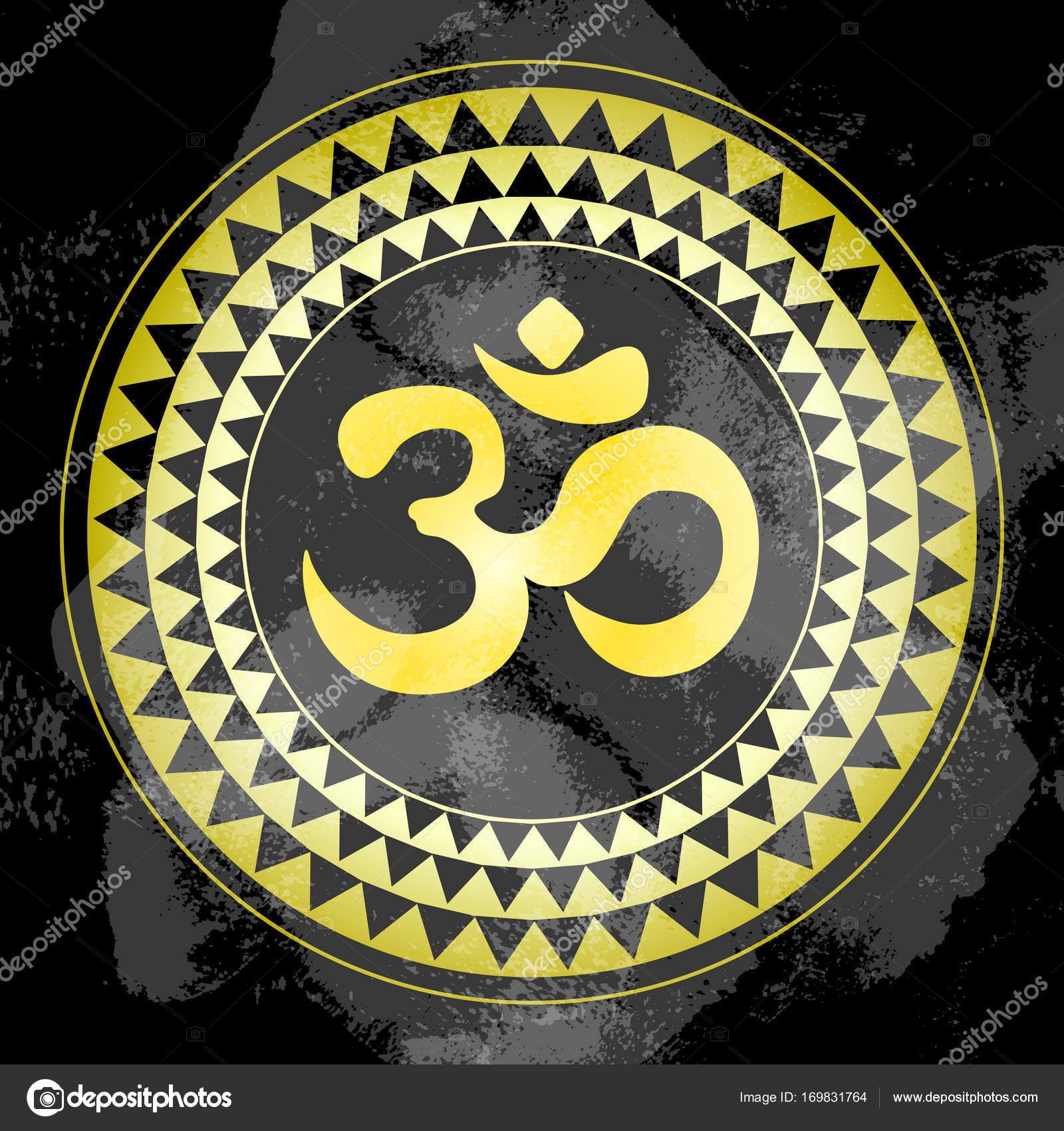Golden ohm symbol indian diwali spiritual sign om over ethnic golden ohm symbol indian diwali spiritual sign om over ethnic round pattern oriental vector religious symbol india thai asia biocorpaavc