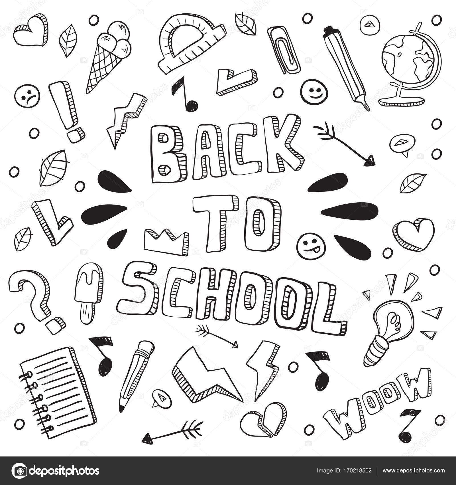 Zurück zu Schule-lustige Vektor-Illustration. Schwarz / weiß-Schule ...
