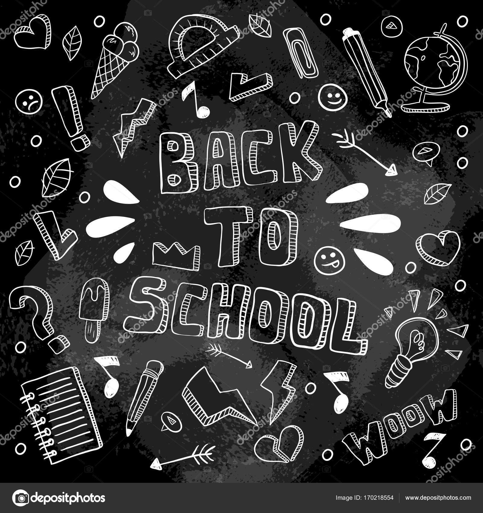 A ilustración vectorial divertido de escuela. Blanco y negro los ...