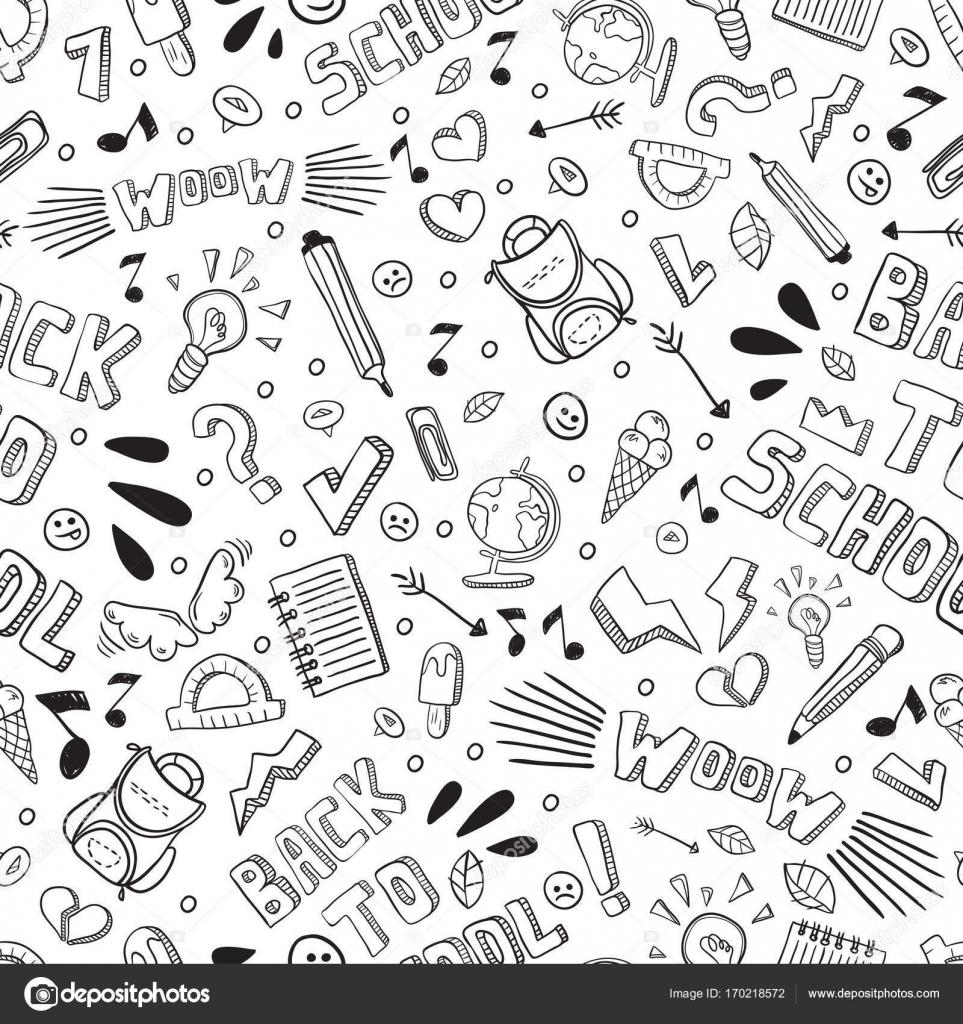 Volver a escuela divertido vector de patrones sin fisuras. Blanco y ...