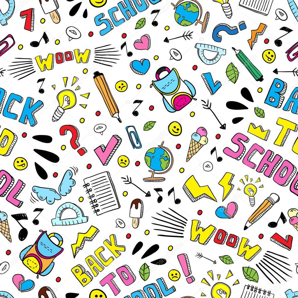 Textile Stock Distributors Mail: Volver A Escuela Divertido Vector De Patrones Sin Fisuras