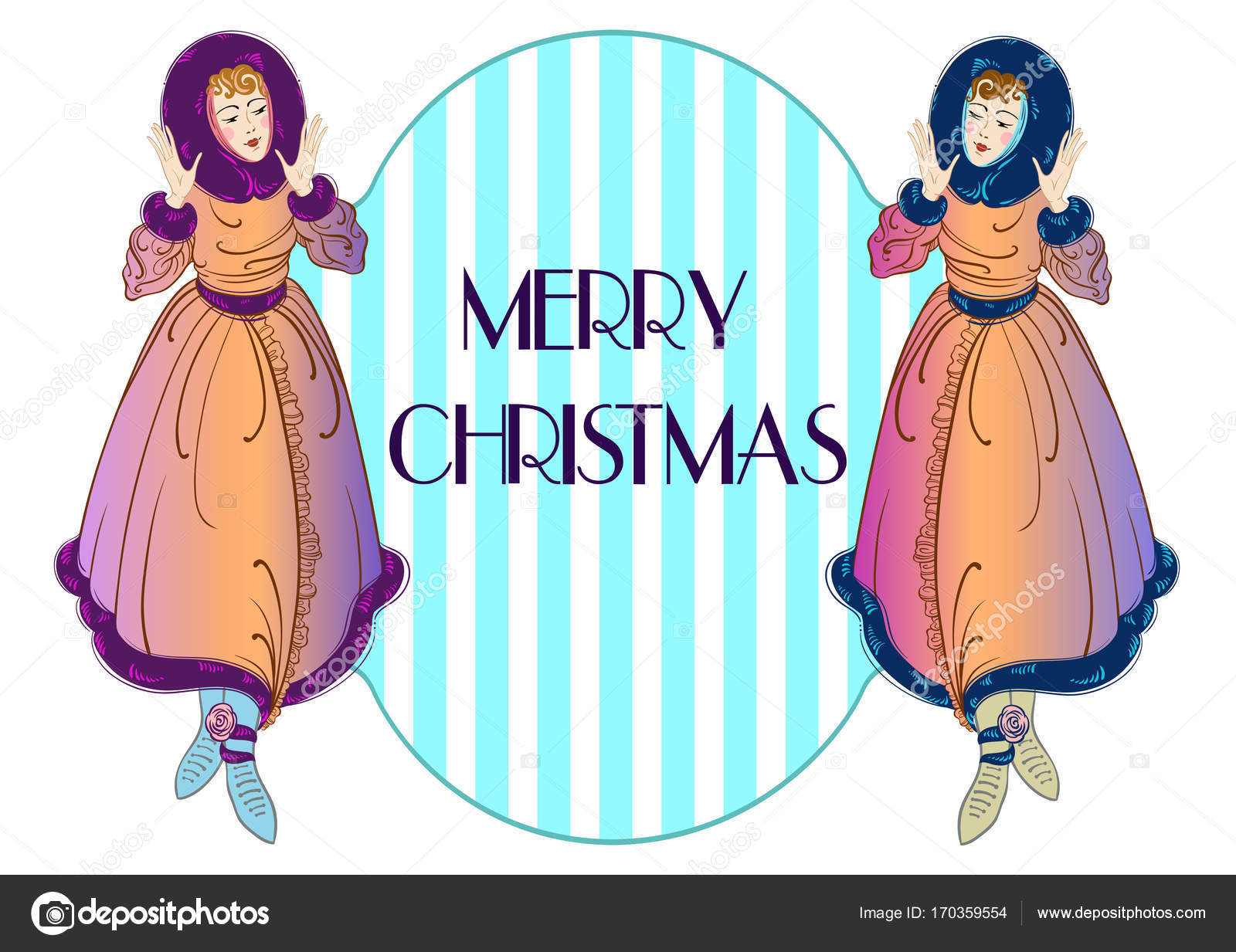 Vintage style Christmas invitation design with beautiful ladies ...