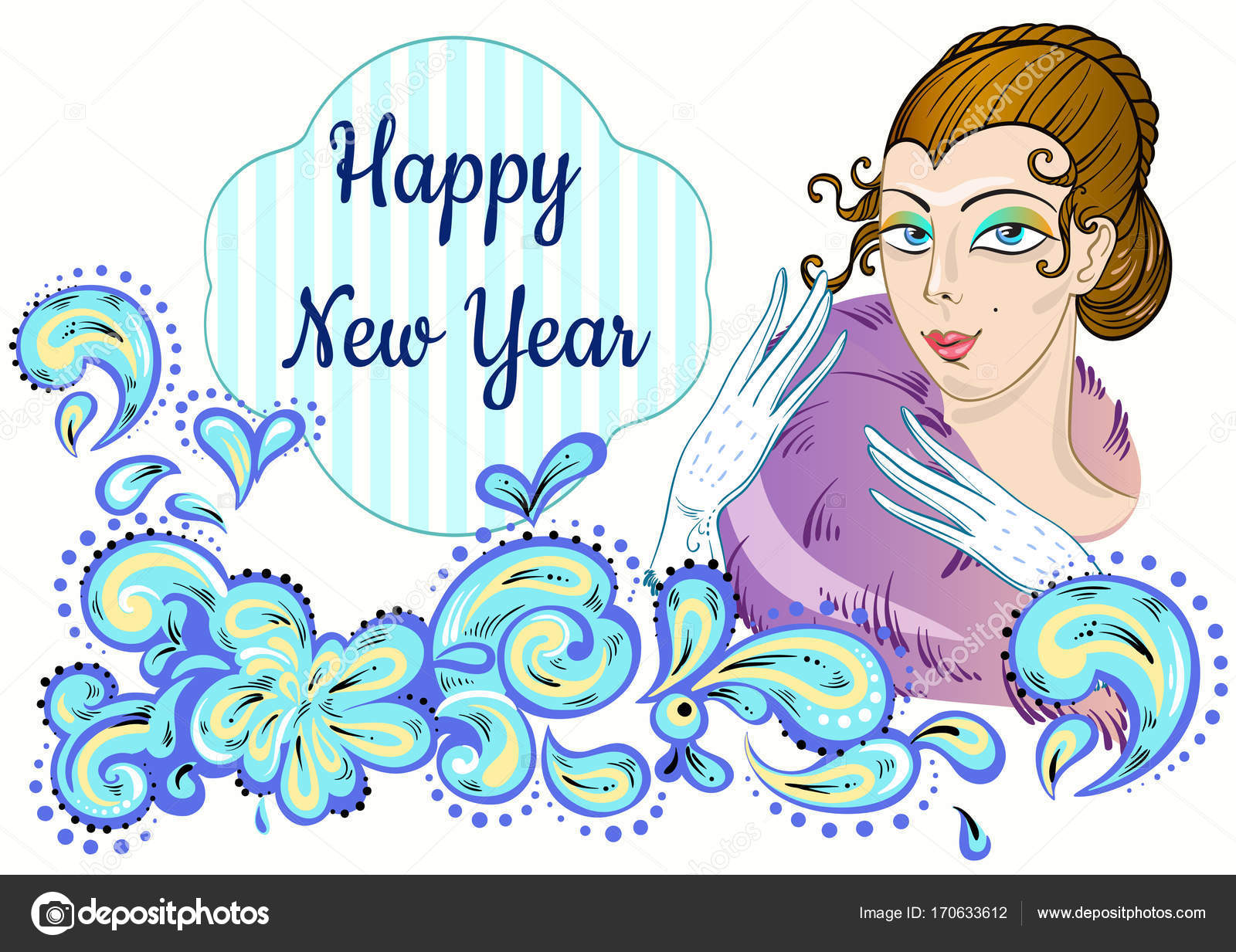vintage style new year invitation design with beautiful lady and decorative ornament around fairy festive