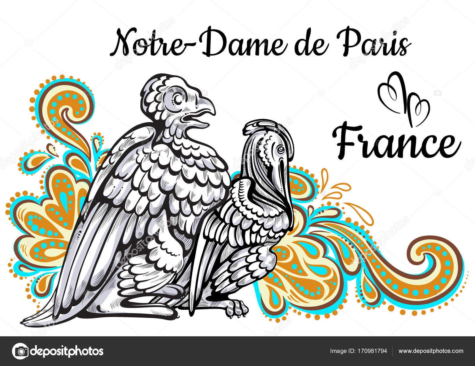 Sammlung der Welt-berühmten Wahrzeichen. Frankreich, Paris. Notre ...