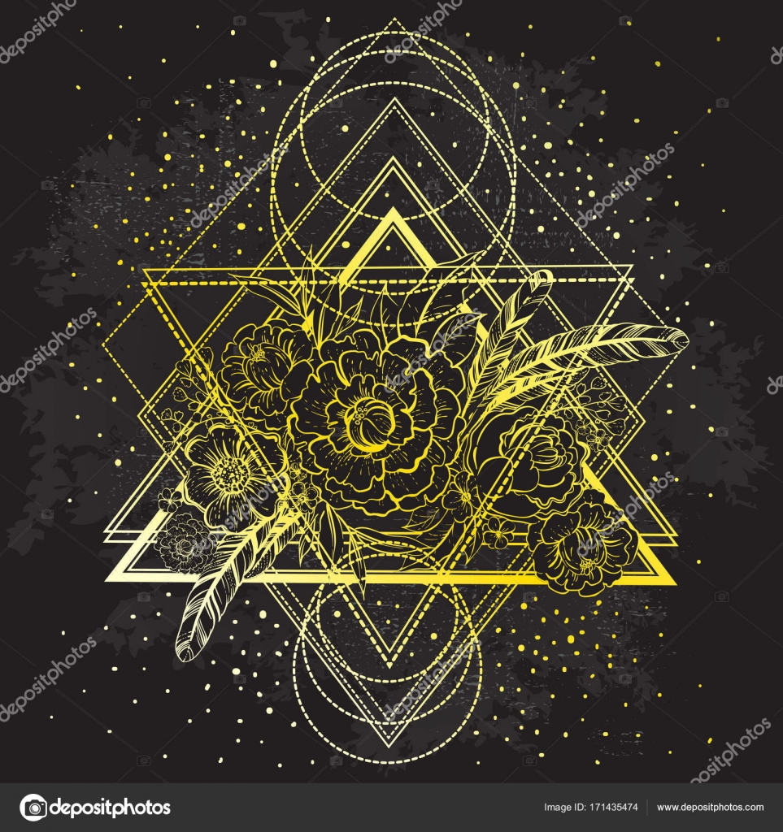 Invitation tendance florale de la Vector boho. Pivoines et plumes sur fond  sombre de la géométrie sacrée. Mystique, romantique, alchimie, concept  occulte, ... 325b9764ebd