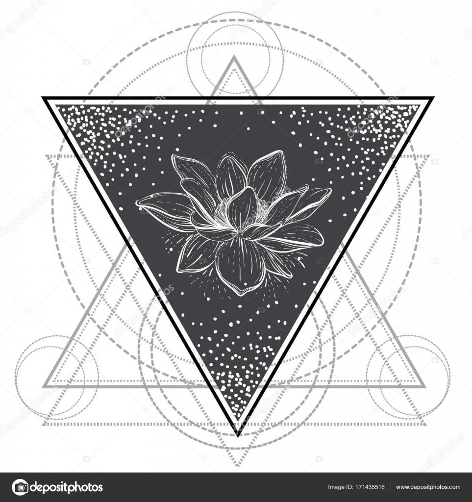 Kwiat Lotosu świętej Geometrii Blackwork Tattoo Flash Wektor