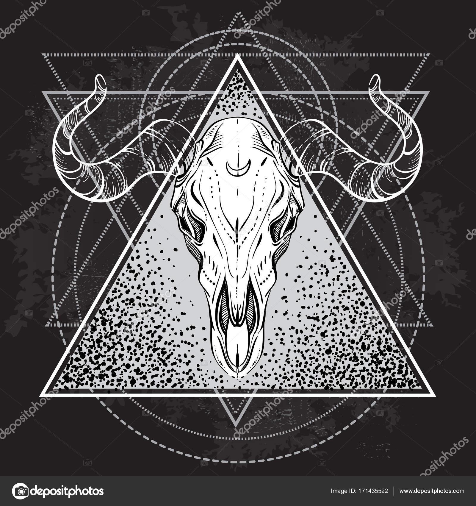 Blackwork Tatouage Flash Crane De Taureau Geometrie Sacree