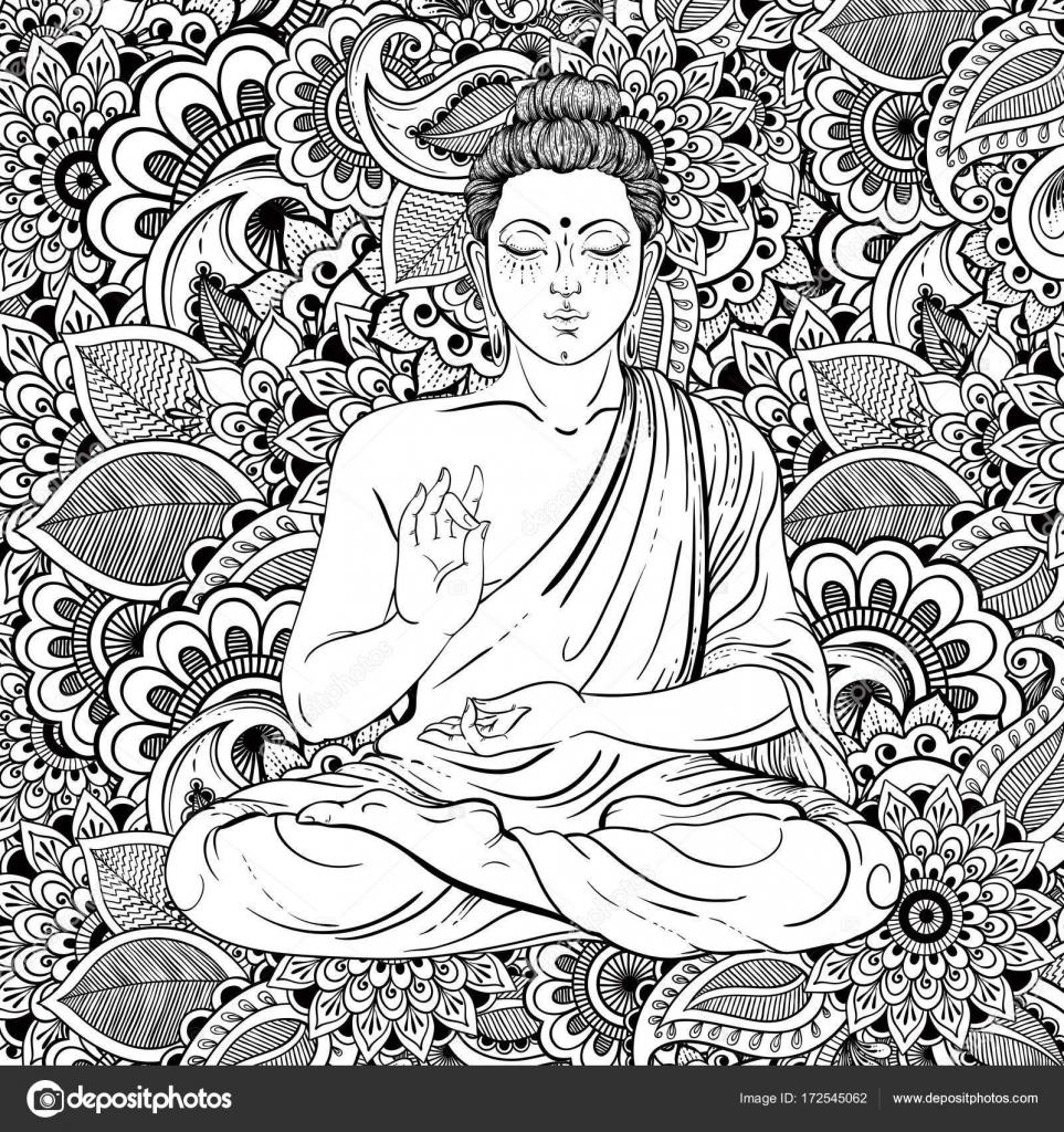 Buda sentado sobre patrón de zentangle recargado. Ilustración de ...