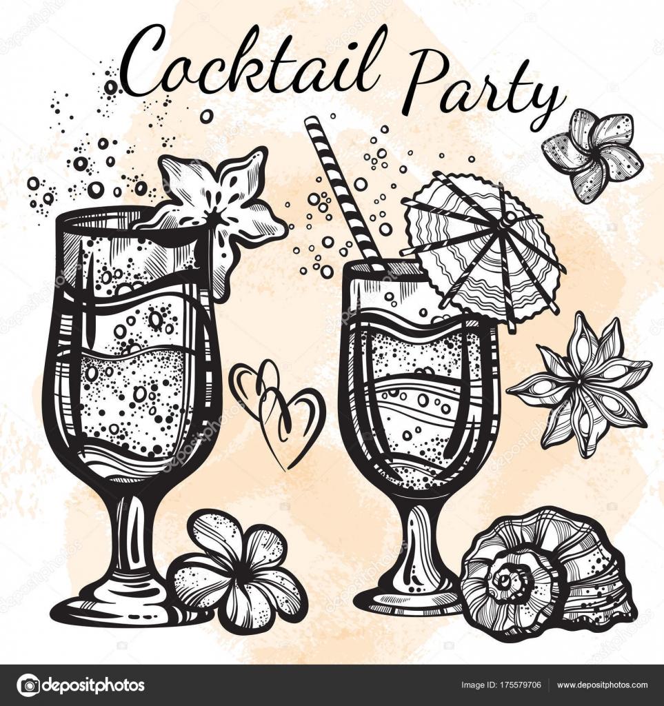 Cocktail-Party-Vektor-Illustration. Linearen Stil Essen und trinken ...
