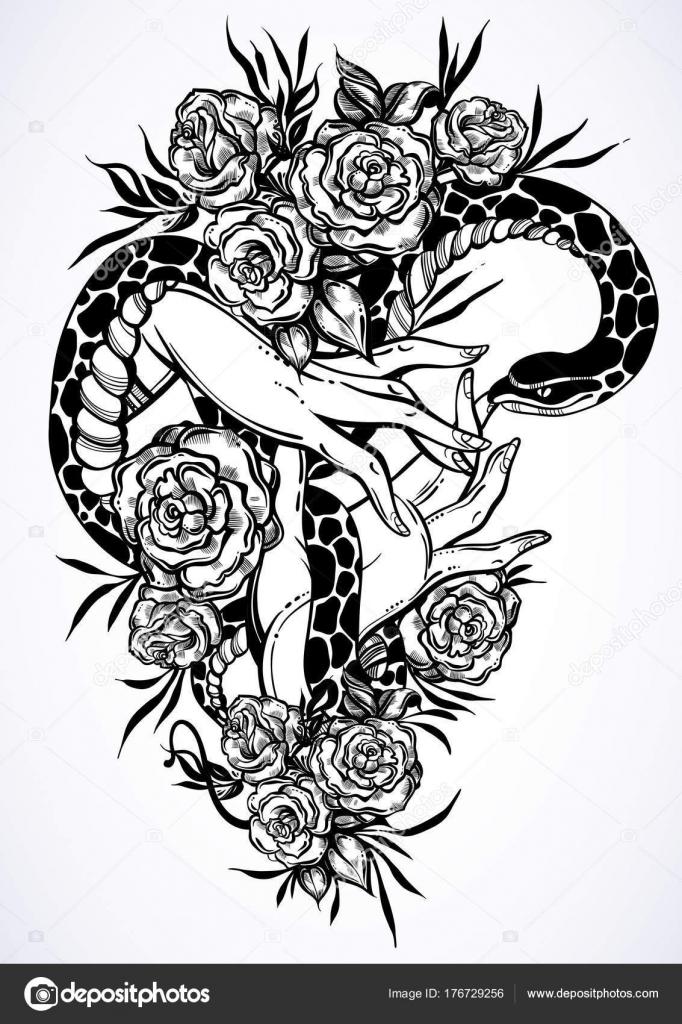 Tatuajes para dibujar de mujer | Mano dibuja la ilustración de ...
