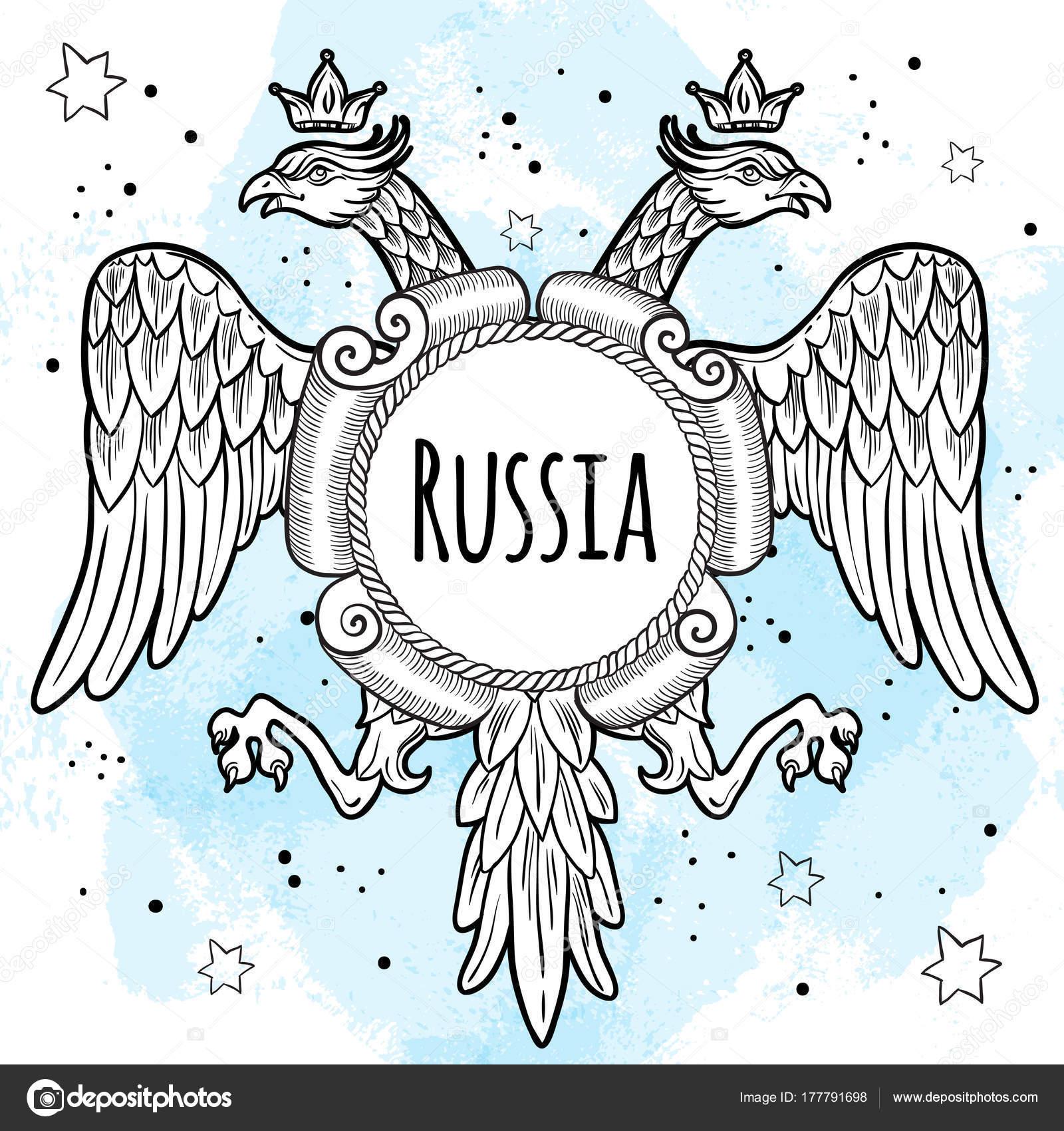 Capas de brazos de Imperio ruso. Águila bicéfala coronada ...