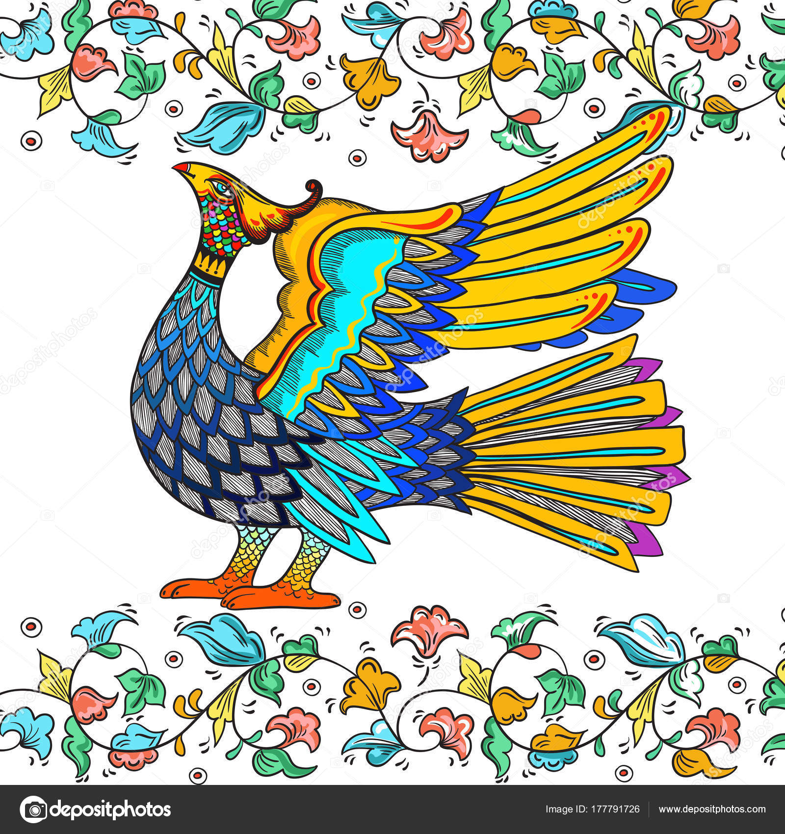 Russian Traditional Decorative Bird Symbol With Floral Ornament