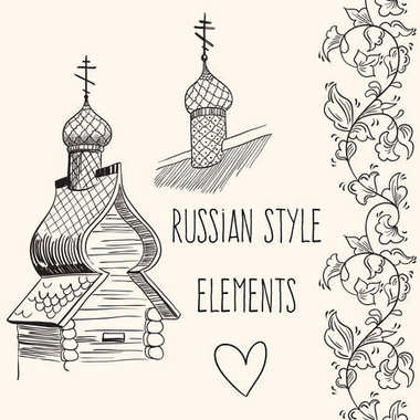 Hand-drawn vector elements of russian huts. Culture, way of life, traditions. Russian style illustration.