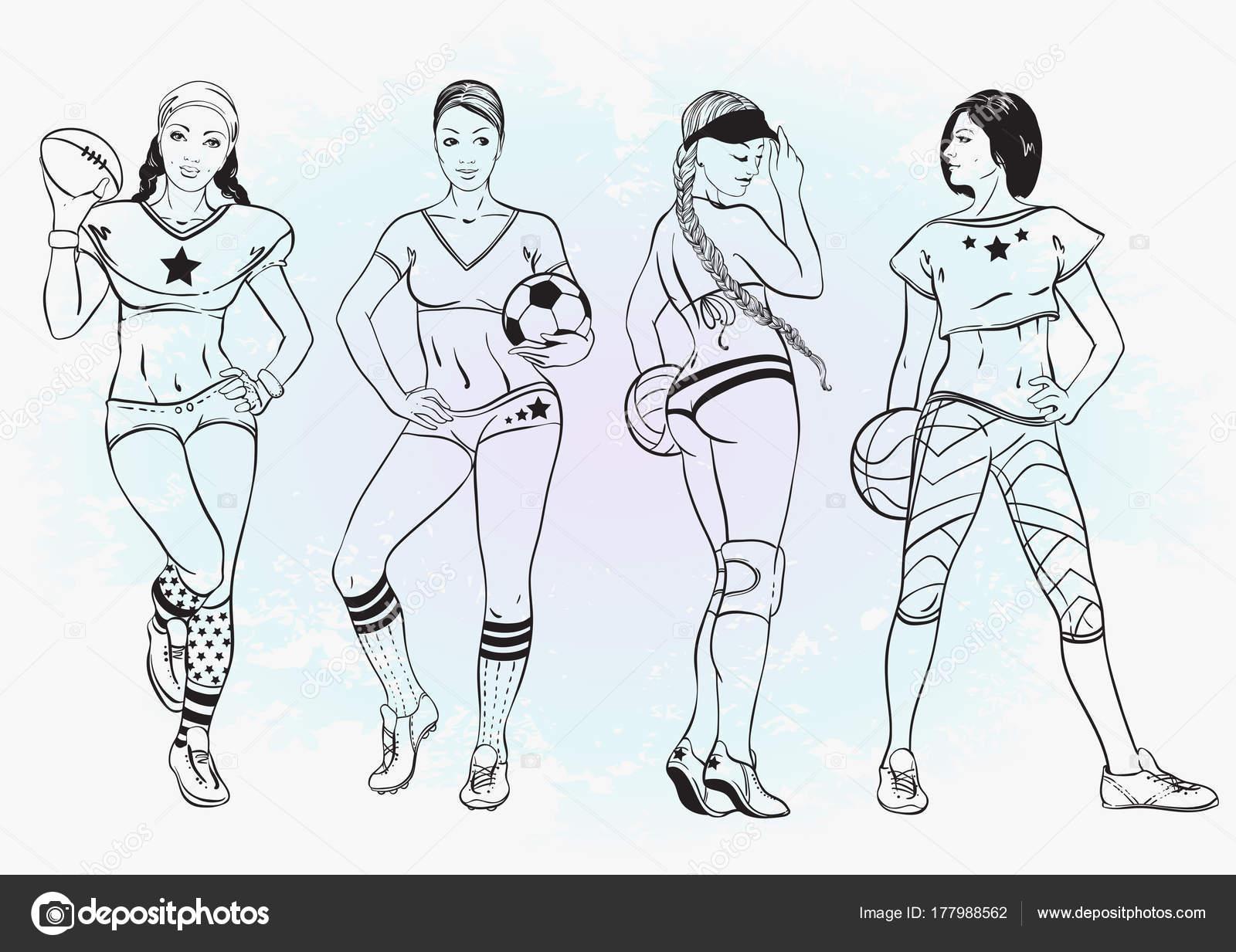 Deportes para colorear libro para niños y adultos. Chicas sexy que ...