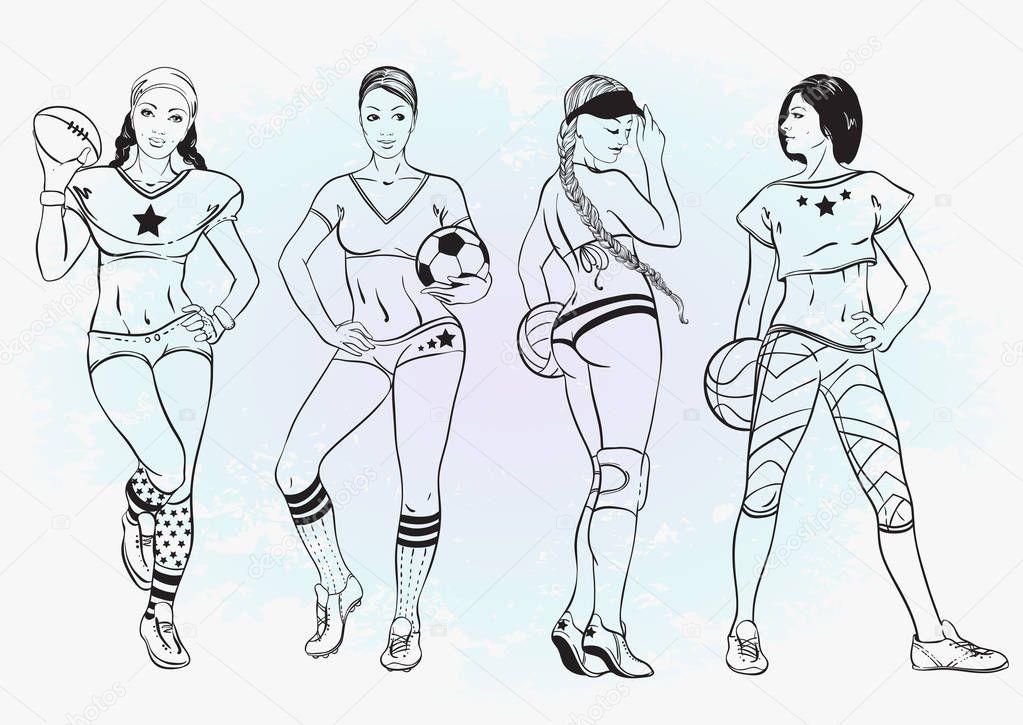 Fotos: chicas para dibujar | Deportes para colorear libro para niños ...
