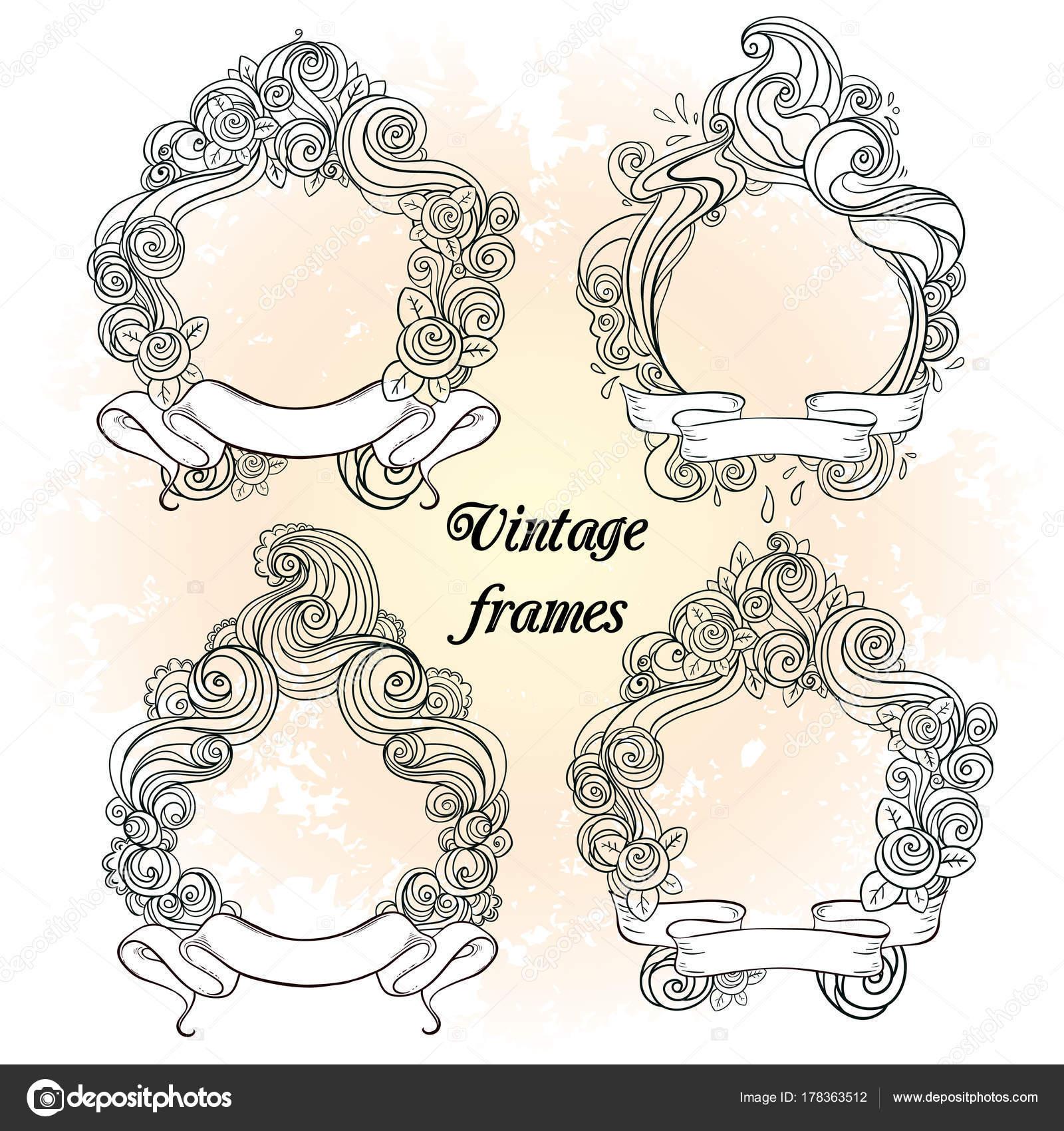 Colección de marco Vintage hechos a mano: 4 diferentes alto ...