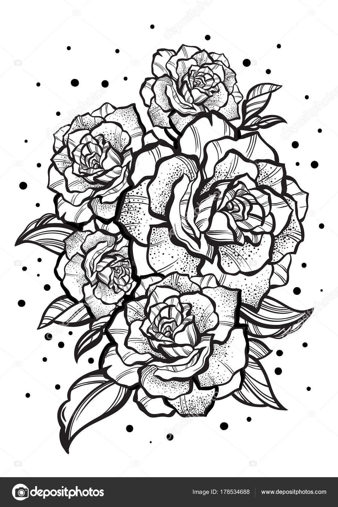 Hand Drawn Beautiful Roses Tattoo Art Graphic Vintage Composition