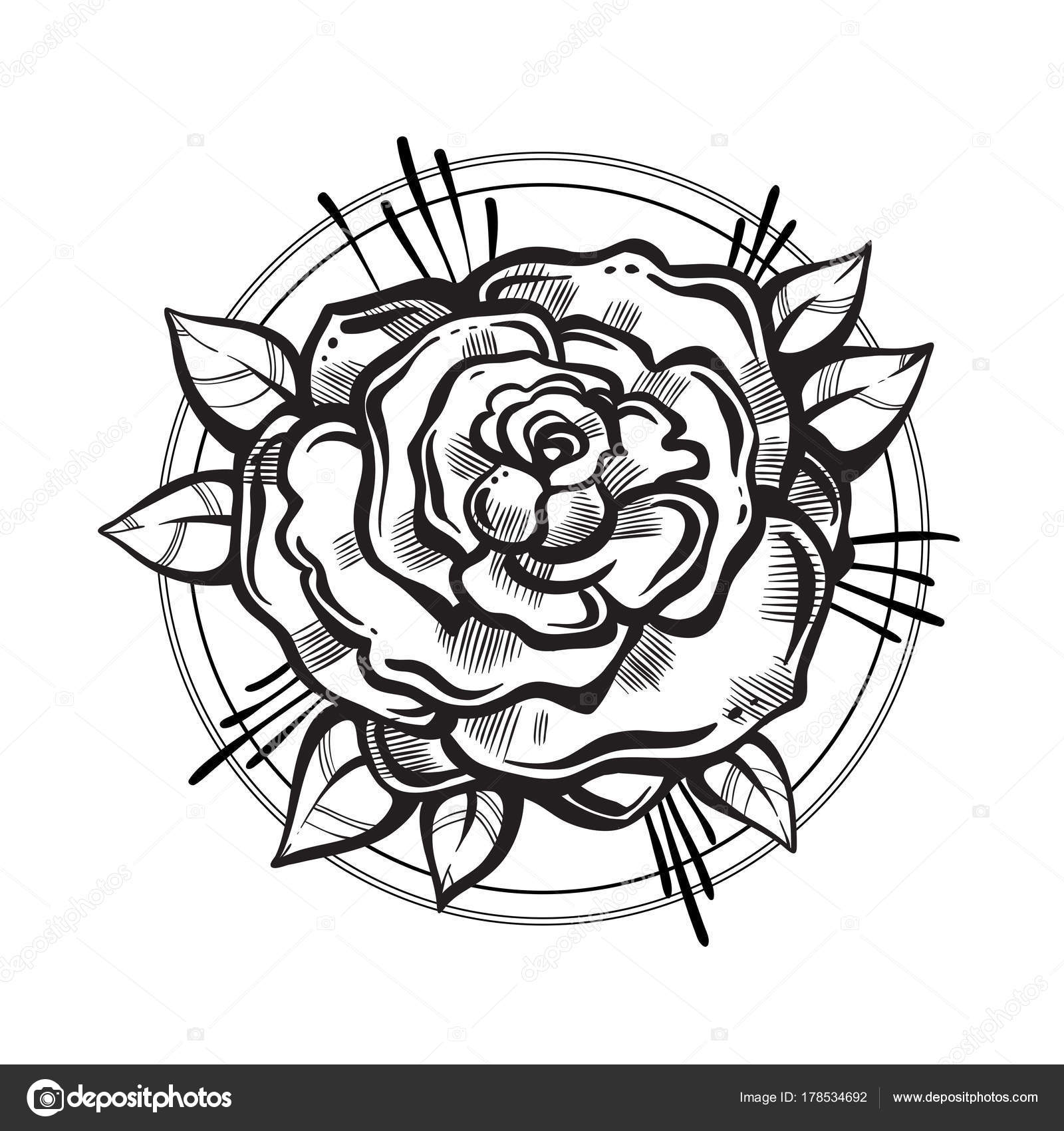 Hand-drawn beautiful rose flower. Tattoo art. Graphic vintage ...