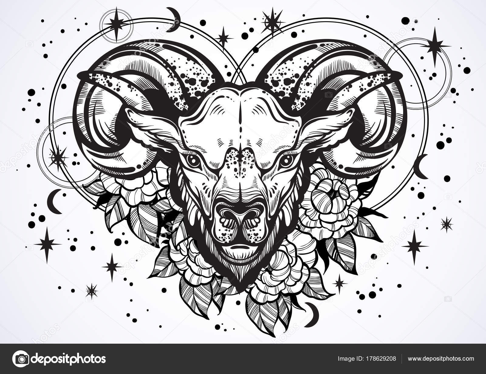 Hand-drawn beautiful artwork of a ram with peony flowers and